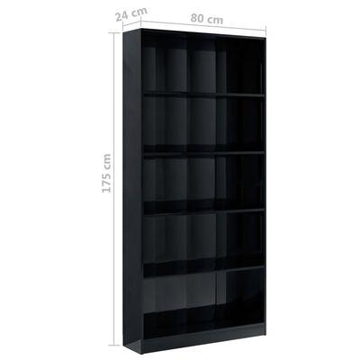 vidaXL Bibliotecă cu 5 rafturi, negru lucios, 80 x 24 x 175 cm, PAL