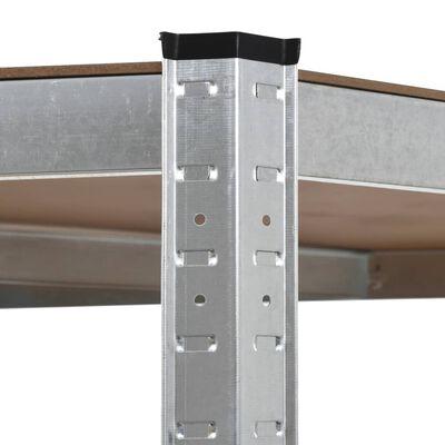 vidaXL Raft de depozitare, argintiu, 90 x 90 x 180 cm, oțel și MDF