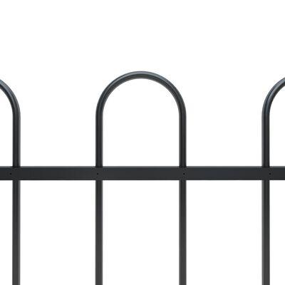 vidaXL Gard de grădină cu vârf curbat, negru, 13,6 x 1,5 m, oțel