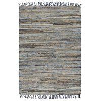 vidaXL Covor Chindi țesut manual, denim și iută, 200x290 cm, multicolor
