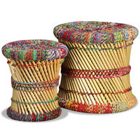 vidaXL Taburete cu detalii Chindi, 2 buc., multicolor, bambus