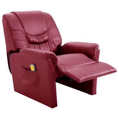 vidaXL Fotoliu de masaj rabatabil, roșu vin, piele ecologică