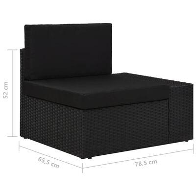 vidaXL Set mobilier de grădină, 6 piese, negru, poliratan