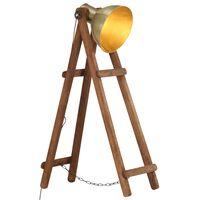 vidaXL Lampă de podea, alamă, lemn masiv de mango, E27