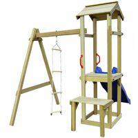 vidaXL Set de joacă din lemn cu tobogan & scară, 228x168x218 cm