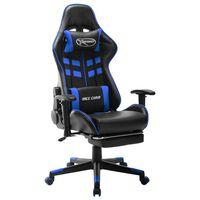 vidaXL Scaun jocuri suport picioare, negru/albastru, piele artificială