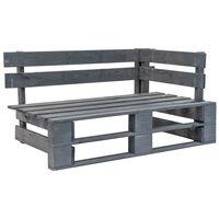 vidaXL Bancă de colț pentru grădină din paleți, gri, lemn