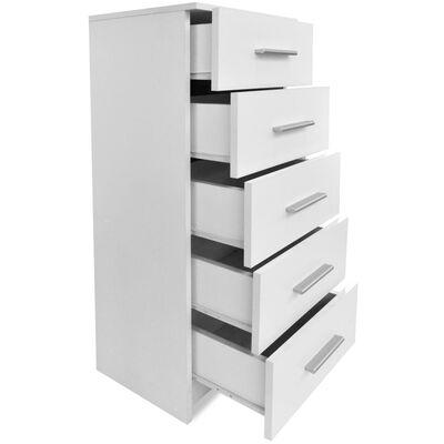 vidaXL Comodă înaltă cu sertare din PAL 41x35x106 cm Alb