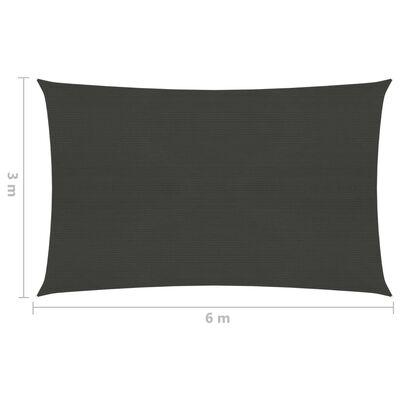 vidaXL Pânză parasolar, antracit, 3 x 6 m, HDPE, 160 g/m²