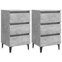 vidaXL Bed Cabinet with Metal Legs 2 pcs Concrete Grey 40x35x69 cm