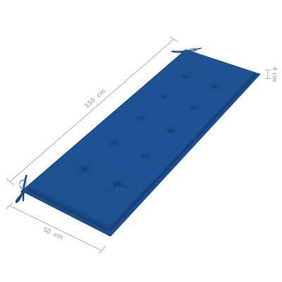 vidaXL Bancă de grădină, pernă albastru regal, 150 cm, lemn masiv tec
