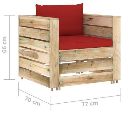 vidaXL Set mobilier grădină cu perne, 12 piese, lemn verde tratat