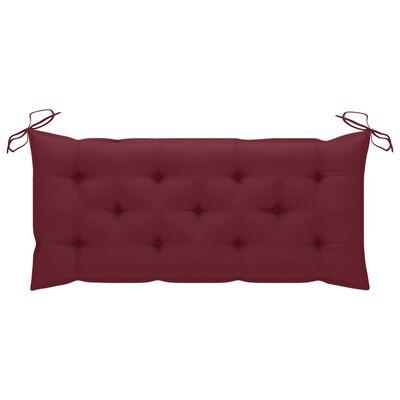vidaXL Bancă de grădină cu pernă roșu vin, 120 cm, lemn masiv tec
