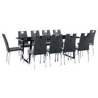 vidaXL Set de masă, 11 piese, negru, piele ecologică