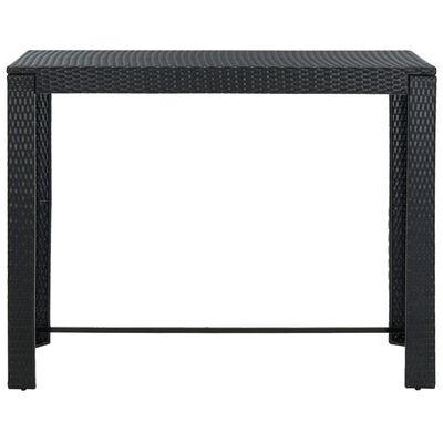 vidaXL Set mobilier bar de grădină cu perne, 7 piese, negru, poliratan