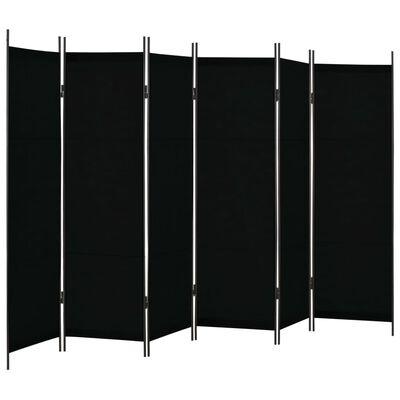 vidaXL Paravan de cameră cu 6 panouri, negru, 300 x 180 cm