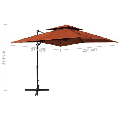 vidaXL Umbrelă suspendată cu înveliș dublu, cărămiziu, 250x250 cm