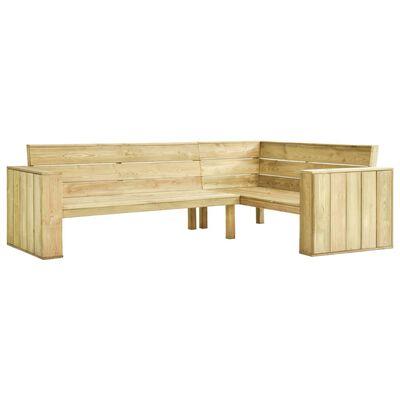 vidaXL Bancă de grădină de colț, cu perne, 239 cm, lemn de pin tratat