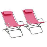 vidaXL Scaune balansoar, 2 buc., roz, oțel