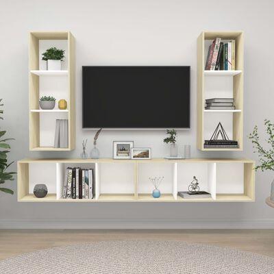 vidaXL Dulapuri TV montate pe perete, 4 buc., alb și stejar sonoma PAL