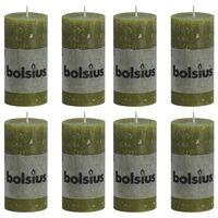 Bolsius Lumânări bloc rustice, 8 buc., oliv, 100 x 50 mm