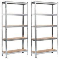vidaXL Rafturi depozitare, 2 buc., argintiu, 90x30x180cm, oțel și MDF