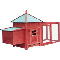 vidaXL Coteț de păsări cu un cuibar, roșu, 193x68x104 cm, lemn de brad