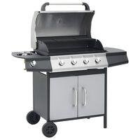 vidaXL Grătar pe gaz, zonă de gătit 4+1, negru și argintiu