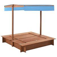 vidaXL Groapă de nisip cu acoperiș, 122 x 120 x 123 cm, lemn de brad
