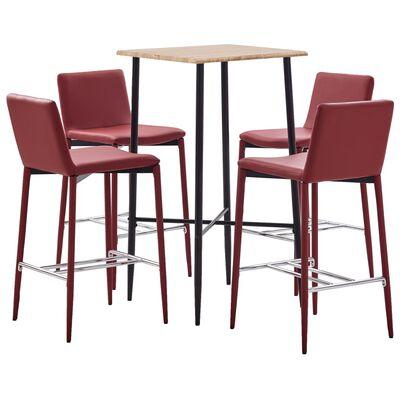 vidaXL Set mobilier de bar, 5 piese, roșu vin, piele ecologică