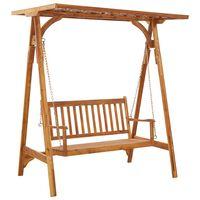 vidaXL Balansoar de grădină cu șipci, lemn masiv de acacia