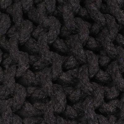 vidaXL Puf tricotat manual, bumbac, 50 x 35 cm, negru