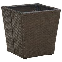 vidaXL Masă de ceai, maro, 41,5x41,5x44 cm poliratan/sticlă securizată