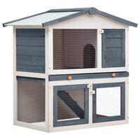 vidaXL Cușcă de iepuri pentru exterior, 3 uși, gri, lemn