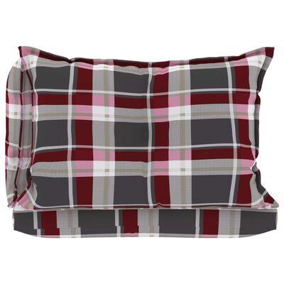 vidaXL Perne pentru canapea din paleți, 3 buc, roșu, model carouri