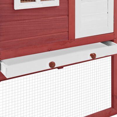 vidaXL Coteț de păsări cu un cuibar, roșu și alb, lemn masiv de brad