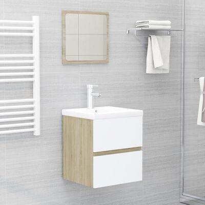 vidaXL Set mobilier de baie, alb și stejar Sonoma, PAL