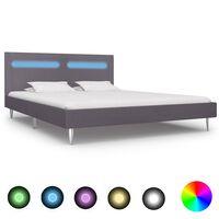 vidaXL Cadru de pat cu LED-uri, gri, 180 x 200 cm, material textil