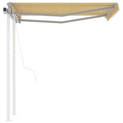 vidaXL Copertină retractabilă automat cu stâlpi, galben/alb, 3x2,5 m