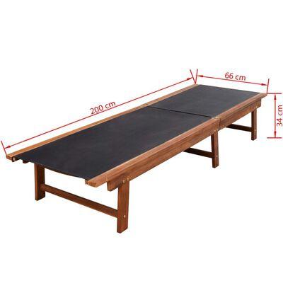 vidaXL Șezlonguri de plajă cu masă 2 buc. lemn masiv acacia textilenă