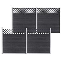 vidaXL Set de gard, 4 pătrate, gri, 699 x 185, WPC