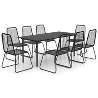 vidaXL Set mobilier de grădină, 9 piese, negru, ratan PVC