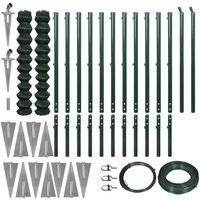 vidaXL Gard plasă de sârmă cu țăruși de fixare, verde, 1,97x25 m