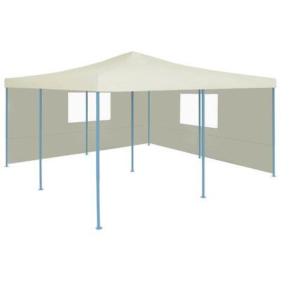 vidaXL Pavilion pliabil cu 2 pereți laterali, crem, 5 x 5 m, Crem