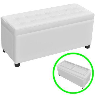 vidaXL Taburet de depozitare, piele artificială, alb
