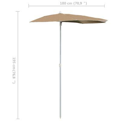 vidaXL Umbrelă de grădină cu stâlp, gri taupe, 180x90 cm, semirotundă