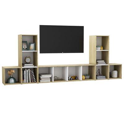 vidaXL Set de dulapuri TV, 5 piese, alb și stejar sonoma, PAL