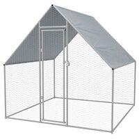 vidaXL Coteț de găini pentru exterior, 2x2x1,92 m, oțel galvanizat