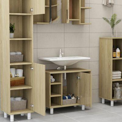 vidaXL Set mobilier de baie, 3 piese, stejar Sonoma, PAL