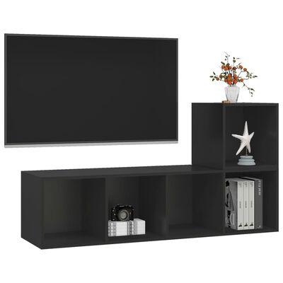 vidaXL Set de dulapuri TV, 2 piese, negru, PAL